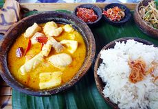 fruits de mer de nourriture ethnique de cari de balinese image stock
