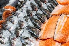 Fruits de mer frais sur la glace écrasée à la poissonnerie Filet cru de dorado, de bar et saumoné sur le compteur d'affichage au  images libres de droits