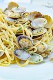 Fruits de mer italiens traditionnels, vongole de spaghetti fait avec le seashel image stock