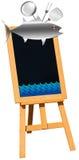 Fruits de mer - tableau noir sur le chevalet Photographie stock