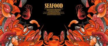 Fruits de mer tirés décorés dans un cadre Image libre de droits