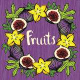 Fruits design card Round frame of carambola and fig. Fruits design card Round frame of fresh carambola and fig Stock Image