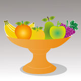 Fruits. Different fruits on gray background Stock Photo