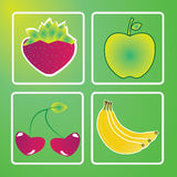Fruits. Different fruits icons on special green background Royalty Free Stock Image