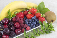 Fruits. Different fruits and mint on a plate Stock Image