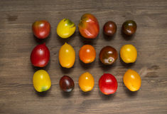 Fruits of different varieties of tomatoes Stock Images