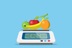 Fruits on digital weight scale with healthy word, diet and health concept. Vector and illustration Stock Photos