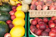 Fruits on display. At the open air market Stock Image