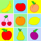 Fruits doodle. Colorful fruits doodle on colorful background stock illustration