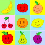 Fruits doodle face smile Stock Photography