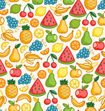 Fruits doodle seamless pattern Royalty Free Stock Photos