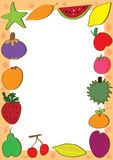 Fruits Doodle Sets Frame_eps. Illustration of doodle fruits frame composition with silhouette and white space to write your sample text or image. --- This .eps stock illustration