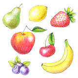 Fruits drawn by color pencils Royalty Free Stock Photography