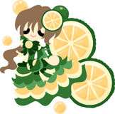The Fruits dress. The illustration of the girl in the sweetie dress Stock Photography