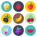 Fruits and Drink Flat Icon Set Royalty Free Stock Image