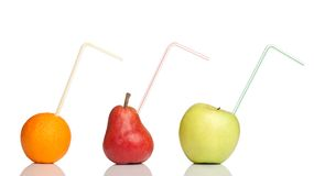 Fruits with drinking straw Stock Photos