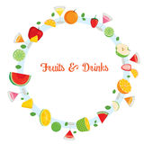 Fruits And Drinks On Circle Frame. Summer Tropical Fruits Healthy Eating Food Drink Natural Stock Photos