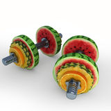 Fruits_dumbbells2 Stock Photos