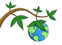 Fruits of Earth. Earth hanging as fruit from a branch. Symbolic picture of environmental, responsibility and existential issues vector illustration