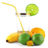 Fruits and empty glass Stock Photos