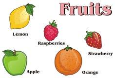 Fruits et beaucoup de lettres Image libre de droits