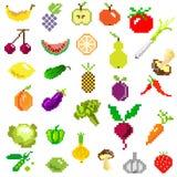 Fruits et légumes d'art de pixel sur le blanc illustration stock