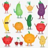 Fruits et légumes de bande dessinée concept fuuny de nourriture Aliment biologique Vecteur Images libres de droits