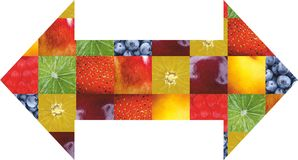 Fruits et légumes de couleur Nourriture fraîche Concept collage Photo stock