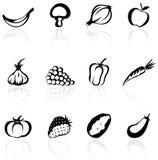 Fruits et légumes de silhouette Image libre de droits