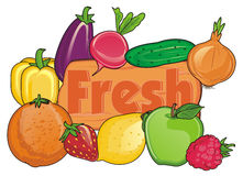 Fruits et légumes frais Illustration de Vecteur