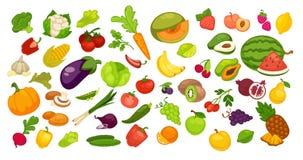 Fruits et légumes organiques naturels réglés sur le blanc illustration de vecteur