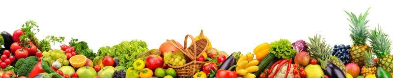 Fruits et légumes panoramiques de collection pour le skinali d'isolement Images libres de droits