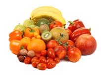 Fruits et légumes rouges, jaunes et verts Image stock