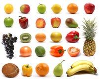 Fruits et légumes sains d'isolement sur le blanc Image libre de droits