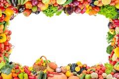 Fruits et légumes sains de vue d'isolement sur le blanc Image libre de droits