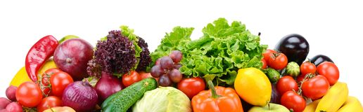 Fruits et légumes utiles de collection d'isolement sur le backgr blanc Photographie stock
