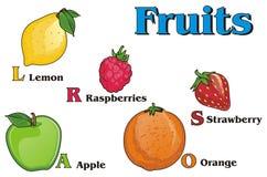 Fruits et mots Illustration Libre de Droits