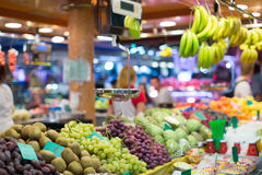 Fruits on european market counter Royalty Free Stock Photos