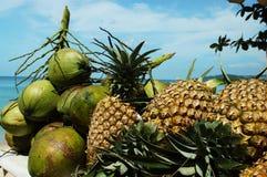 Fruits exotiques sur un fond de mer Images libres de droits