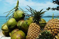 Fruits exotiques sur un fond de mer Photographie stock