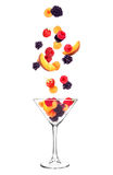 fruits fall in glass stock photos