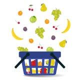 Fruits falling into the basket royalty free illustration