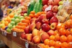 Fruits on a farm market. Shelf Royalty Free Stock Photos