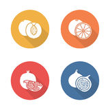 Fruits flat design icons set. Half sliced Stock Photo
