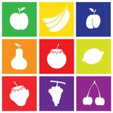 Fruits Flat Design Square Icons Stock Images