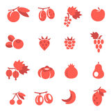 Fruits flat icons Stock Photo