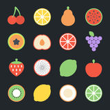 Fruits Flat Icons Royalty Free Stock Photography