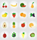 Fruits flat set icons with the shadow vector illustration Stock Image