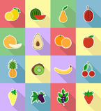 Fruits flat set icons with the shadow vector illustration Royalty Free Stock Photos