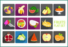 Fruits flat vector icons set Stock Photo